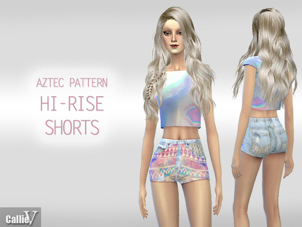 Aztec Pattern High Rise Shorts by Callie V