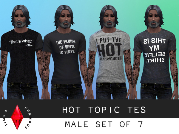 Set of 7 Hot Topic Tees by SIms4Krampus