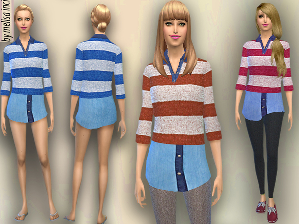 Sweater With Shirt by melisa inci
