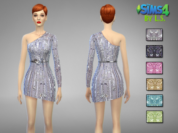 One Sleeve Haute Couture Dress With Belt by LadyShadows