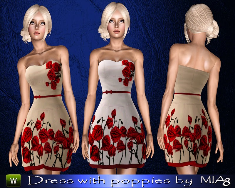 Women's summer dress with poppies by Mia8