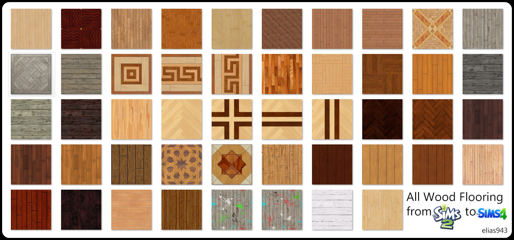 All wood floors from Sims 2 to 4 by Elias943