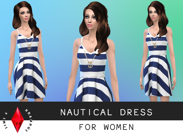 Nautical Short Dress by SIms4Krampus