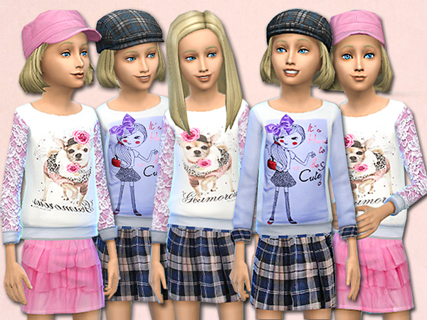 Melissa child fashion sweaters and skirts set by Pinkzombiecupcakes