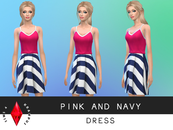 Pink and Navy Dress by SIms4Krampus