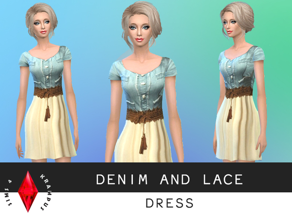 Denim and Lace Dress by SIms4Krampus