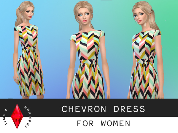 Louche Carys Chevron Dress by SIms4Krampus
