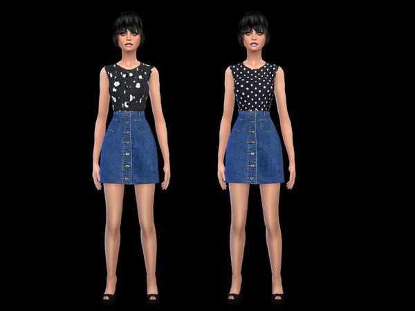 set sweet denim dress - mesh by miss fortune by simsoertchen