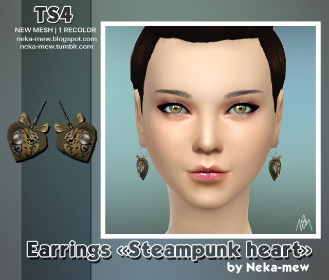 "Earrings ""Steampunk heart"" (converted from TS3) by Neka-mew"