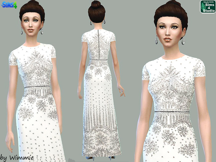 White Maxi Dress with Lace Overlay at Just For Your Sims