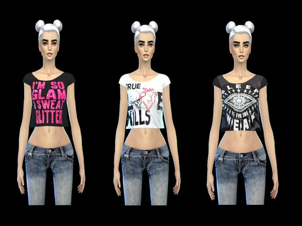 cool cropped top set - mesh by miss fortune - by simsoertchen