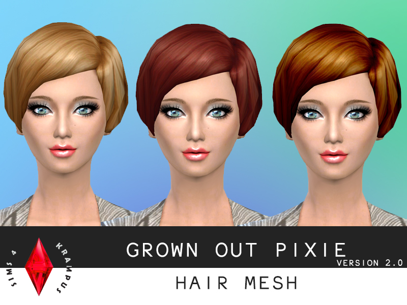 Grown out pixie hair mesh V2 at Sims 4 Krampus
