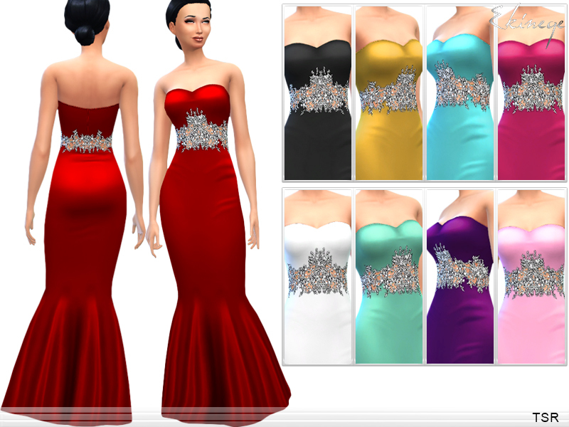 Embellished Waist Evening Gown by ekinege