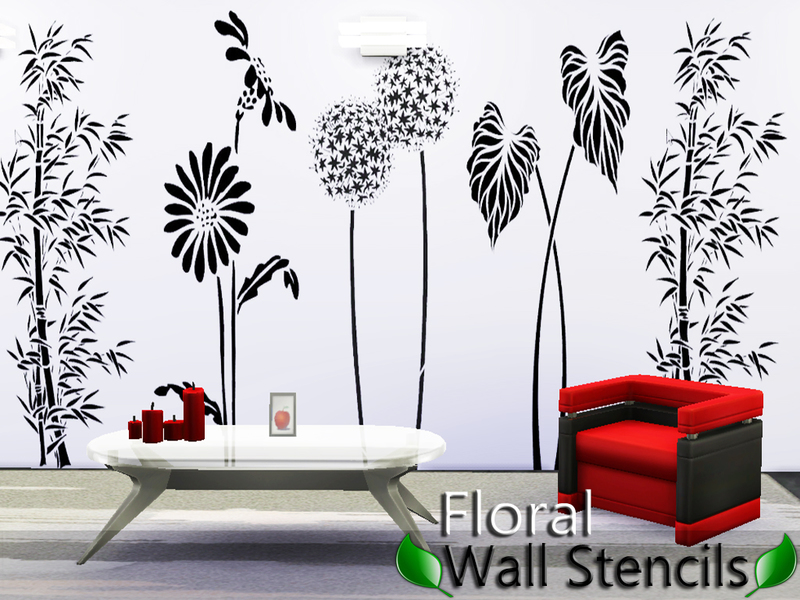 Floral wall stencils by Pinkzombiecupcakes