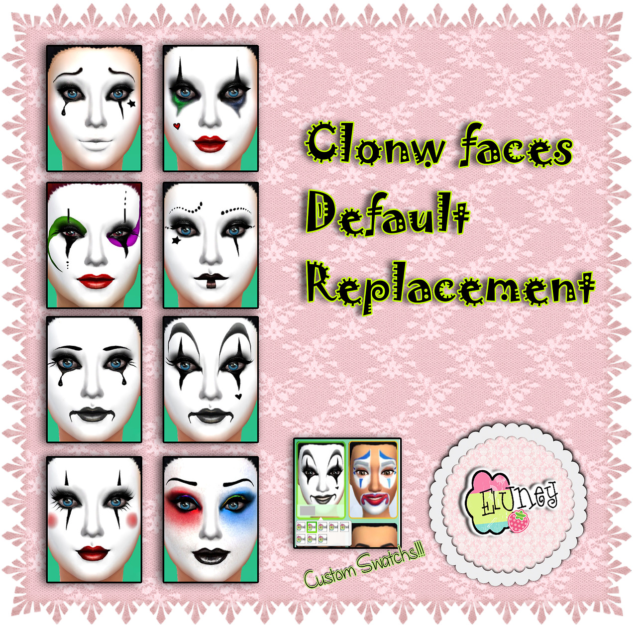 Default Replacement Clown Faces by EluneyDesign