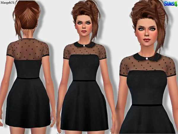 Sims 4 Valentino Stars Dress by Margeh-75