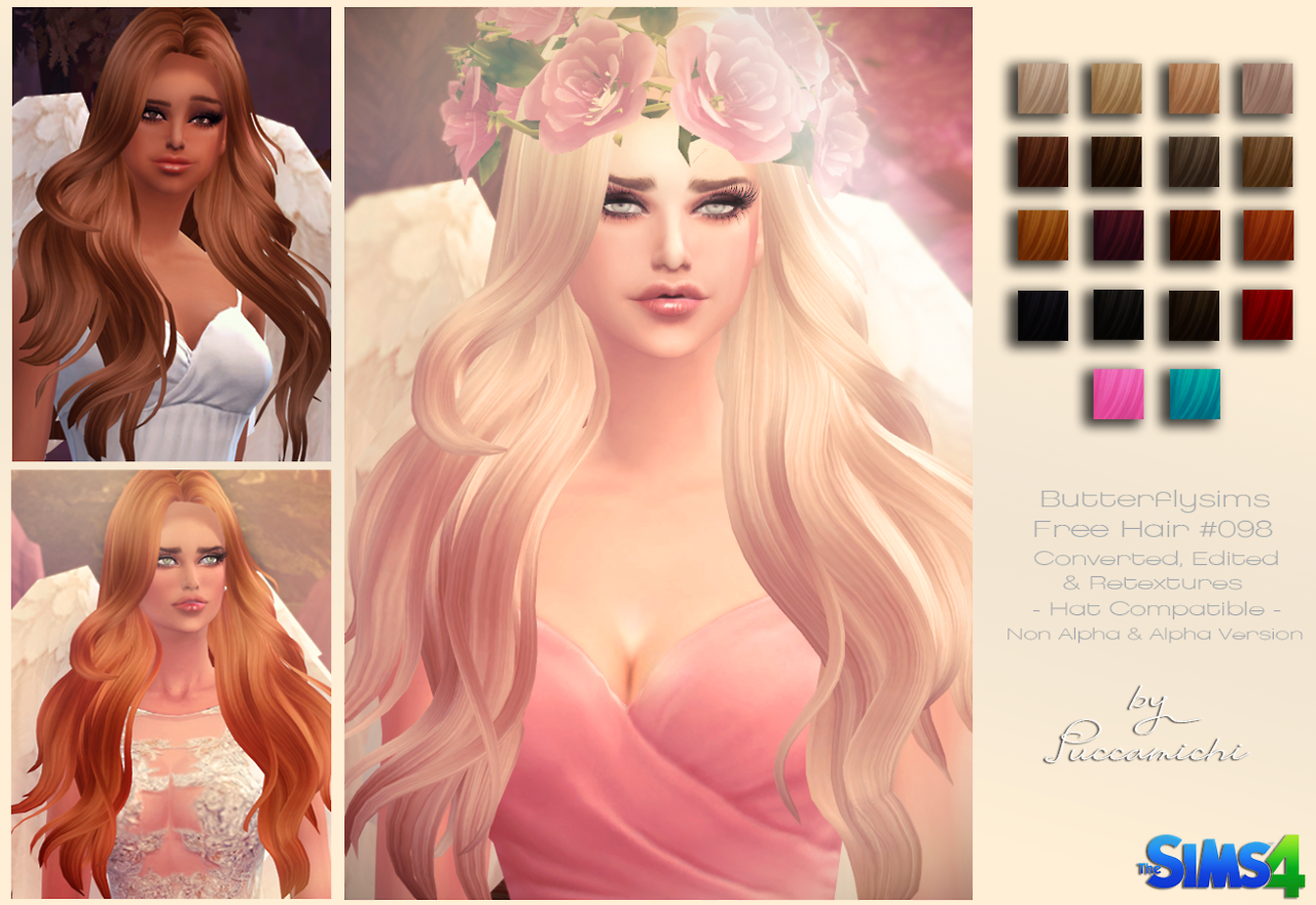 B-fly 098 alpha & non alpha hair conversion at Puccamichi Sims
