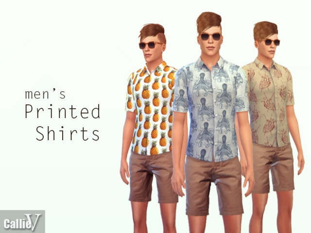 3 printed short sleeved shirts by Callie V