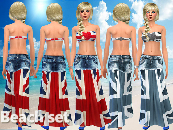 Beach Party swimwear top and skirt by Pinkzombiecupcakes
