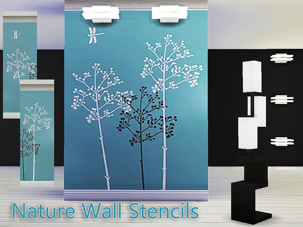 Nature wall stencils by Pinkzombiecupcakes