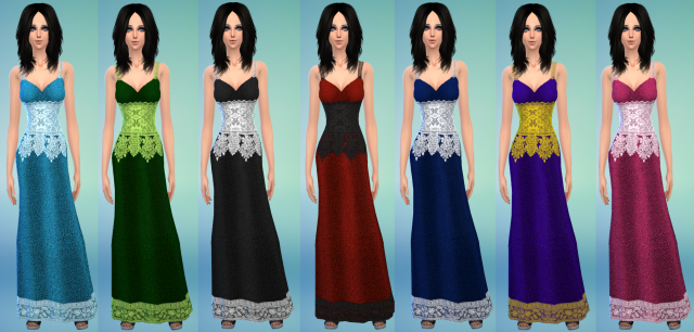 Lace dress TS4 by MoonFairy