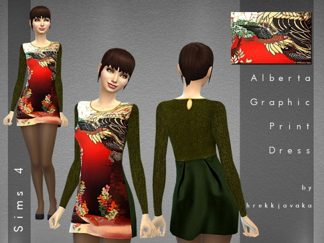 Alberta Graphic Print Dress by hrekkjavaka