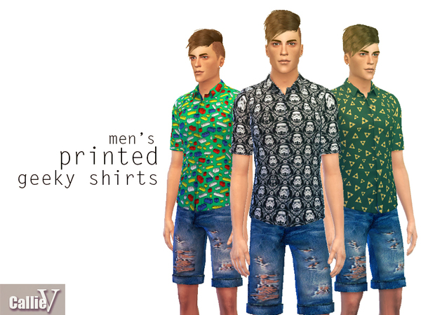 Men's Printed Geeky Shirts by Callie V