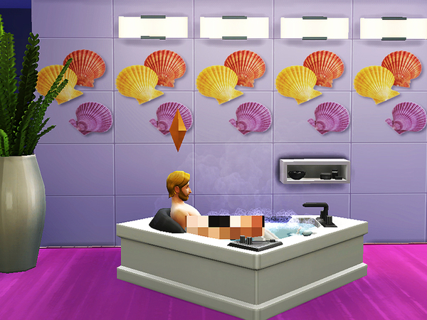 Bathroom seashells and sea stars walls by Pinkzombiecupcakes