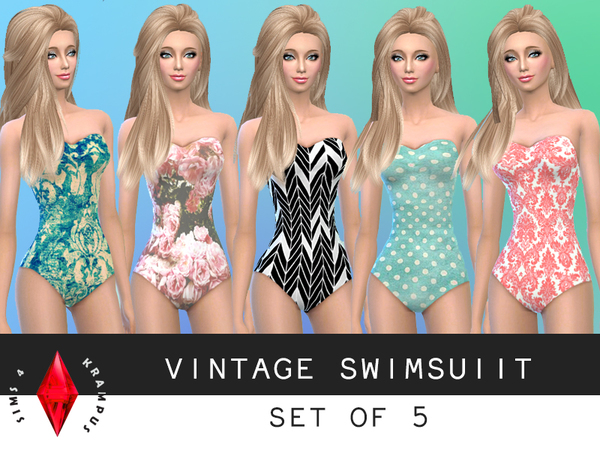 Vintage Swimsuit Set of 5 by SIms4Krampus