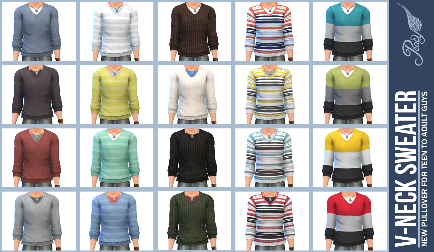 V-Neck Sweaters for Teen - Elder Males by Peacemaker ic
