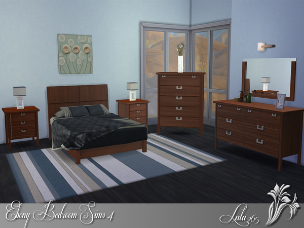 Ebony Bedroom Sims 4 by Lulu265