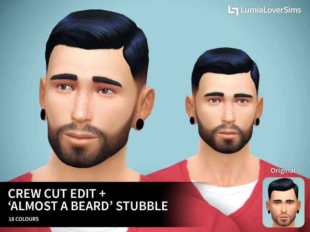 Crew Cut Edit Facial Hair by LumiaLover Sims