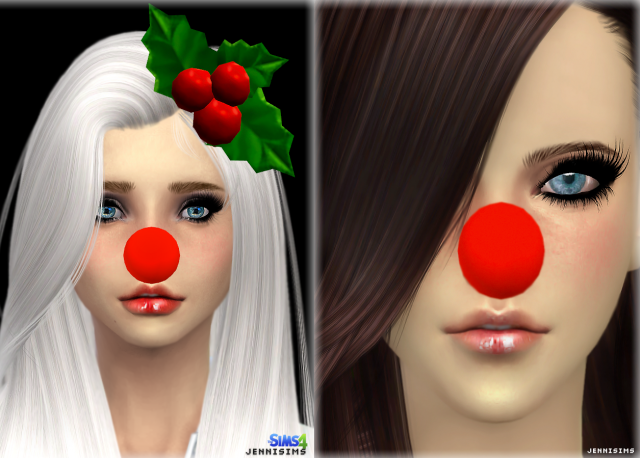 New Mesh Accessory Santa Nose and Mistletoe Hair Male/Female by Jennisims