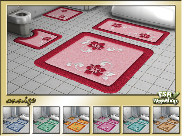 Bath Rugs Hibiscus Set by annigo