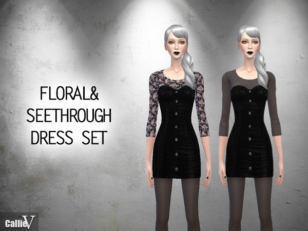 Floral and Seethrough Dress Set by Callie V