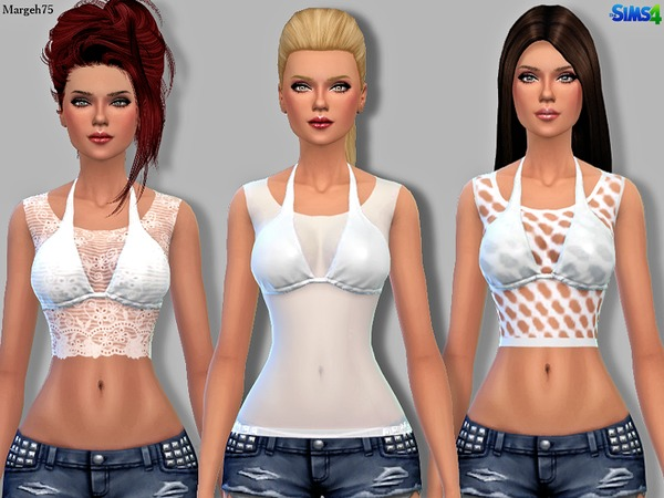 Sims 4 White Designer Tops by Margeh-75