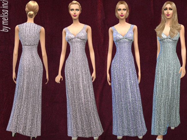 V-Neck Shimmer Beaded Gown by melisa inci