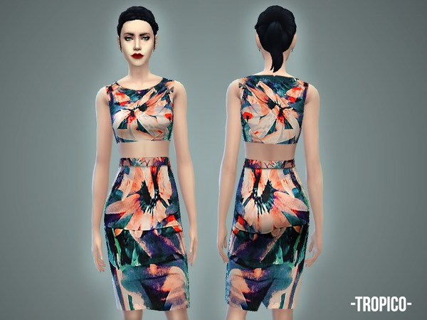 Tropico - skirt & crop top (full body) by -April-