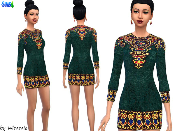 Embroidered Lace Mini Dress by Wimmie