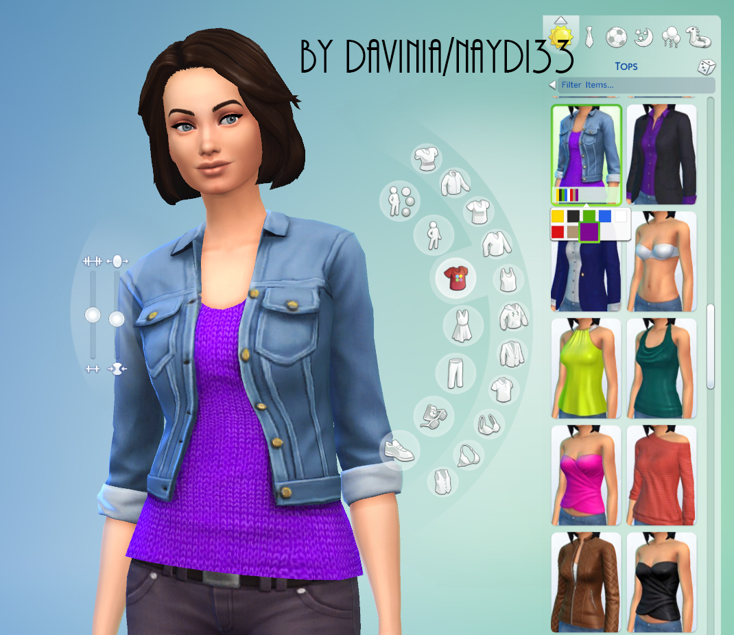 Denim jacket with 7 sweaters by Davinia