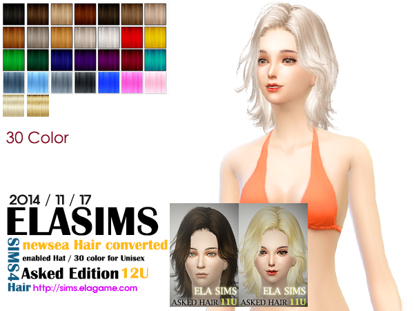 Newsea Hair conversion Asked Hair 12U by Elasims
