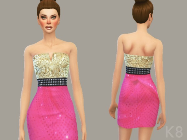 Sequin Cocktail Dress (Gold & Pink) by Etaini
