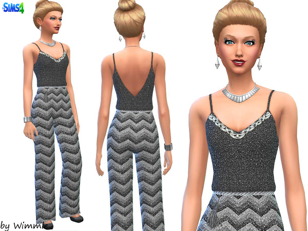 Elegant silver and black jumpsuit by Wimmie