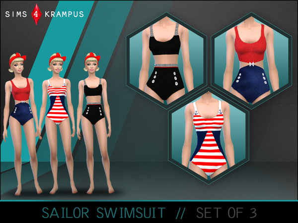 Sailor Swimsuit Set of 3 by SIms4Krampus