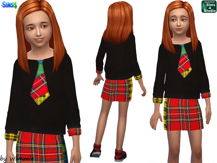 Tartan skirt and sweater for girls at Just For Your Sims