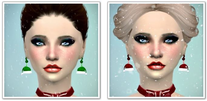 Santa Hat Earrings and Necklace Christmas at Jenni Sims