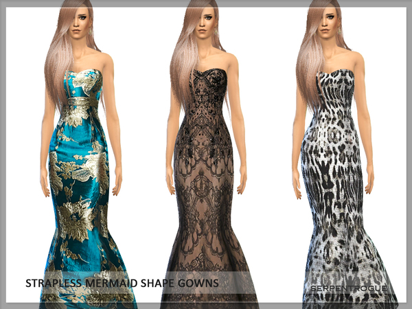 Strapless mermaid shape gowns by Serpentrogue