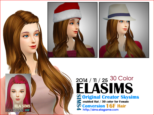 Sims 4 Asked Hair 16F by Elasims