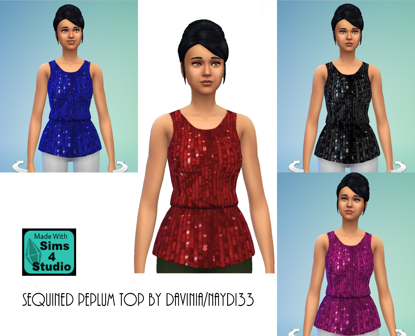 Sequined peplum top in four colors by Davinia