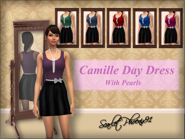 Camille Day Dress With Pearls by scarletphoenix91